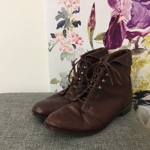 West 31st Brown Leather Lace Up Prairie Booties